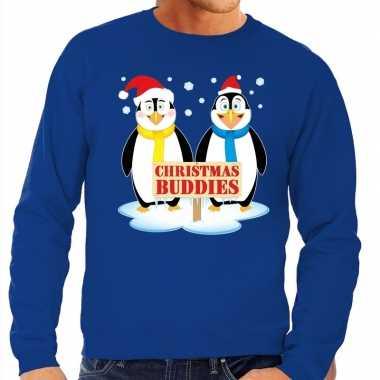 Foute kersttrui blauw met 2 pinguins voor heren kopen