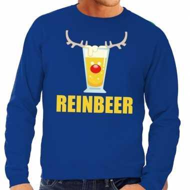 Foute kersttrui blauw met biertje heren kopen