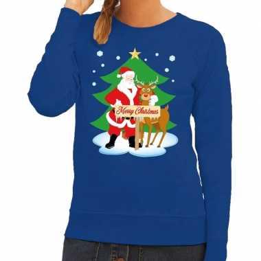 Foute kersttrui blauw met de kerstman en rudolf voor dames kopen
