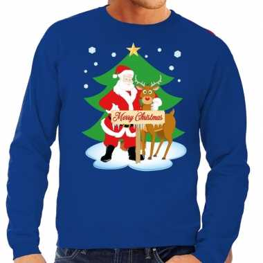 Foute kersttrui blauw met de kerstman en rudolf voor heren kopen