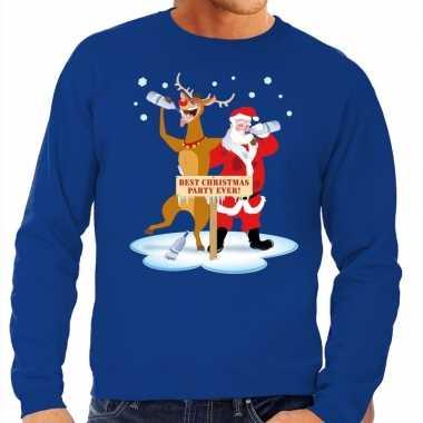 Foute kersttrui blauw met een dronken kerstman en rudolf voor heren k