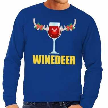 Foute kersttrui blauw met wijntje heren kopen