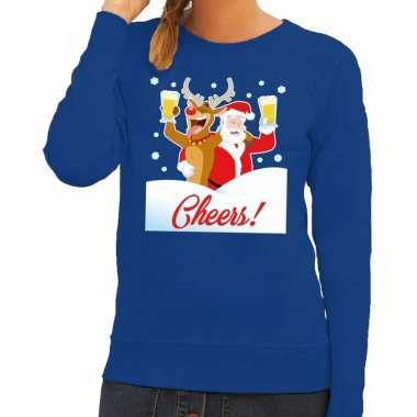 Foute kersttrui cheers met dronken kerstman en rudolf voor dames kope