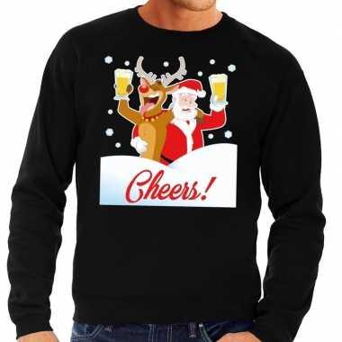 Foute kersttrui cheers met dronken kerstman en rudolf voor heren kope