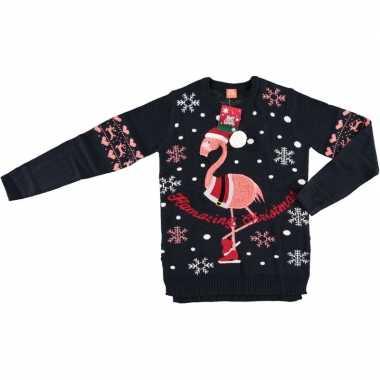Foute kersttrui flamingo navy voor vrouwen kopen