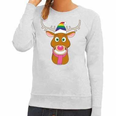 Foute kersttrui grijs gay ruldolf regenboog muts en roze sjaal voor d