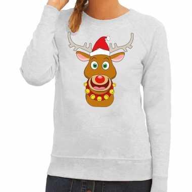 Foute kersttrui grijs met ruldolf het rendier met rode muts voor dame