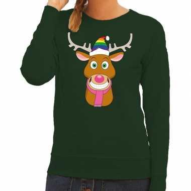 Foute kersttrui groen gay ruldolf regenboog muts en roze sjaal voor d