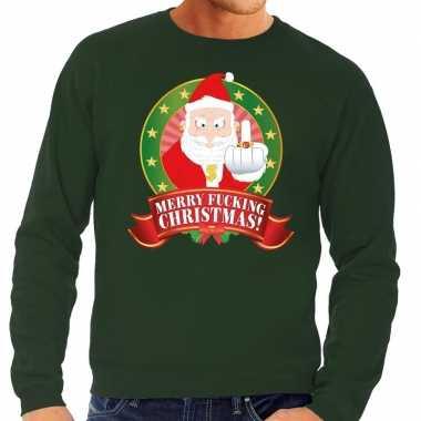 Foute kersttrui groen kerstman met middelvinger merry fucking christm