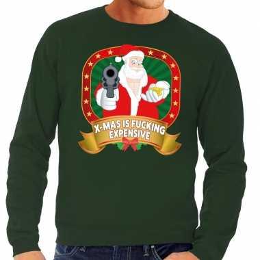 Foute kersttrui groen kerstman met pistool heren kopen