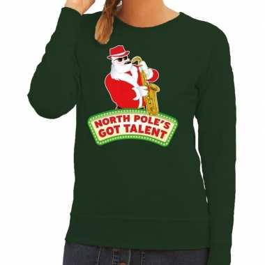 Foute kersttrui groen kerstman met saxofoon dames kopen