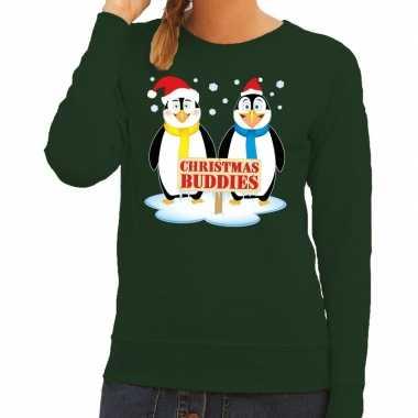 Foute kersttrui groen met 2 pinguins voor dames kopen