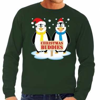 Foute kersttrui groen met 2 pinguins voor heren kopen