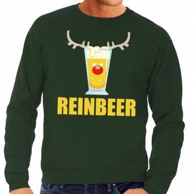 Foute kersttrui groen met biertje heren kopen