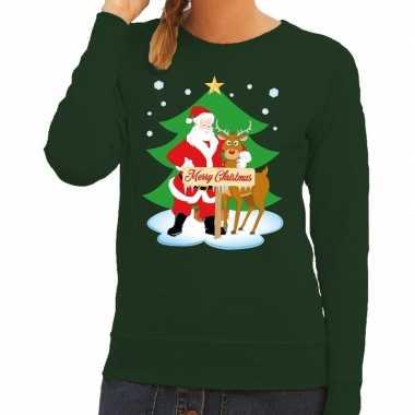 Foute kersttrui groen met de kerstman en rudolf voor dames kopen