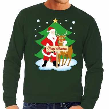 Foute kersttrui groen met de kerstman en rudolf voor heren kopen