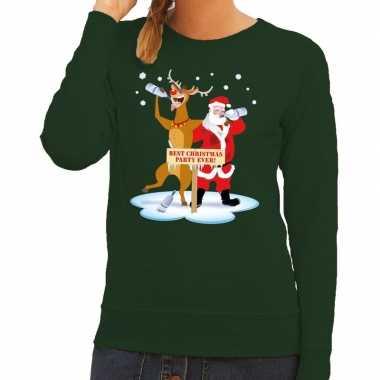 Foute kersttrui groen met een dronken kerstman en rudolf voor dames k
