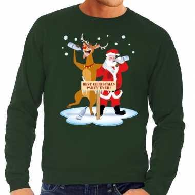 Foute kersttrui groen met een dronken kerstman en rudolf voor heren k