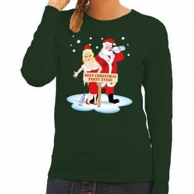 Foute kersttrui groen met een dronken kerstman en zijn vrouw voor dames