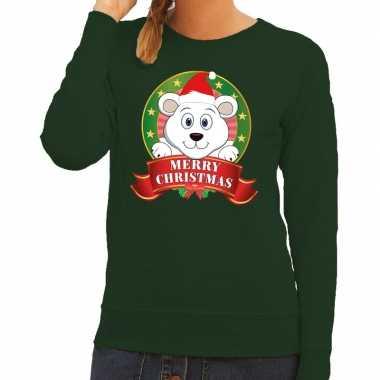 Foute kersttrui groen met ijsbeertje voor dames kopen