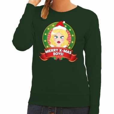 Foute kersttrui groen met kerstvrouwtje voor dames kopen