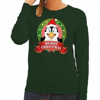 Foute kersttrui groen met pinguin voor dames kopen