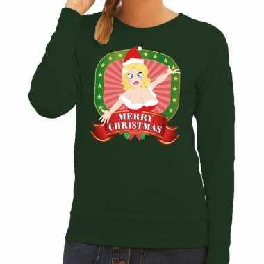 Foute kersttrui groen met sexy kerstvrouw voor dames kopen