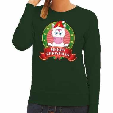 Foute kersttrui groen met unicorn voor dames kopen