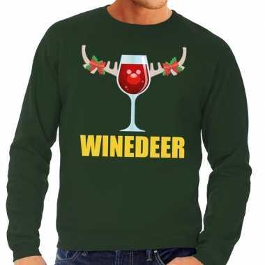 Foute kersttrui groen met wijntje heren kopen