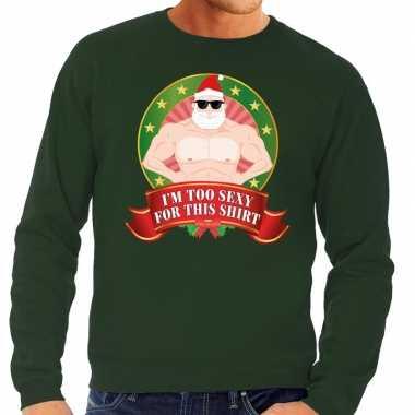 Foute kersttrui groen naakte kerstman met zonnebril heren kopen