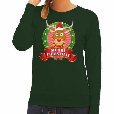 Foute kersttrui groen rudolf het rendier voor dames kopen