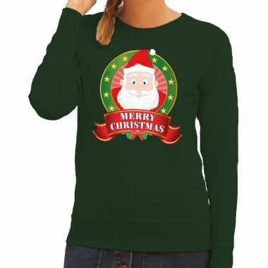 Foute kersttrui groen santa merry christmas voor dames kopen