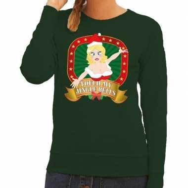 Foute kersttrui groen touch my jingle bells voor dames kopen