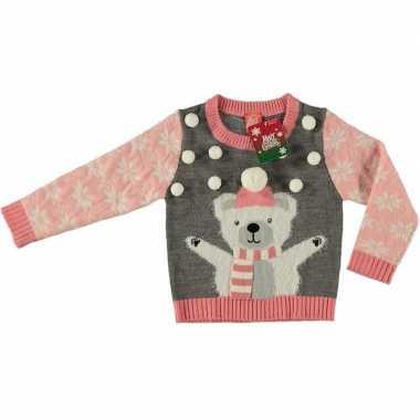 Foute kersttrui ijsbeer grijs voor kinderen kopen