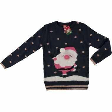 Foute kersttrui kerstman navy blauw/goud voor dames kopen