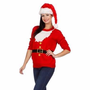 Foute kersttrui kerstmannen pak voor dames