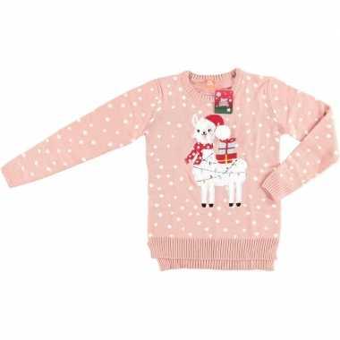 Foute kersttrui lama/alpaca roze voor vrouwen kopen