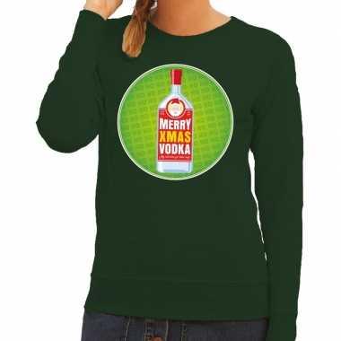 Foute kersttrui merry x-mas vodka groen voor dames kopen
