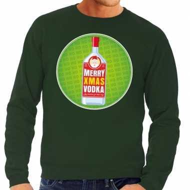 Foute kersttrui merry x-mas vodka groen voor heren kopen