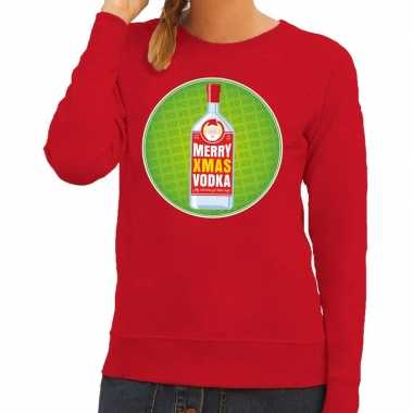 Foute kersttrui merry x-mas vodka rood voor dames kopen