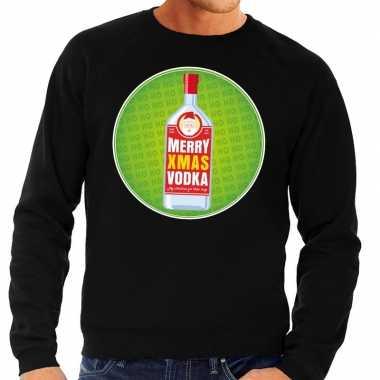 Foute kersttrui merry x-mas vodka zwart voor heren kopen