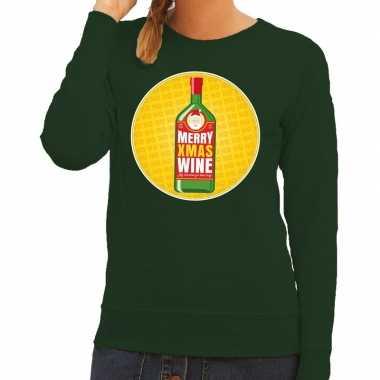 Foute kersttrui merry x-mas wine groen voor dames kopen