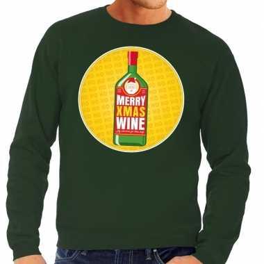 Foute kersttrui merry x-mas wine groen voor heren kopen