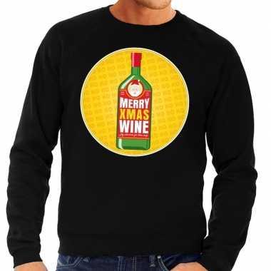 Foute kersttrui merry x-mas wine zwart voor heren kopen