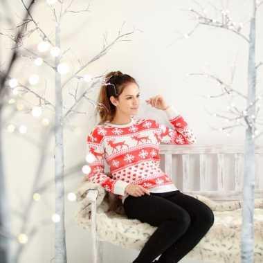 Foute kersttrui nordic print rood/wit voor dames kopen