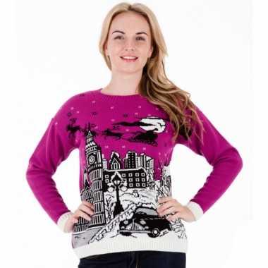 Foute kersttrui paars london voor dames kopen