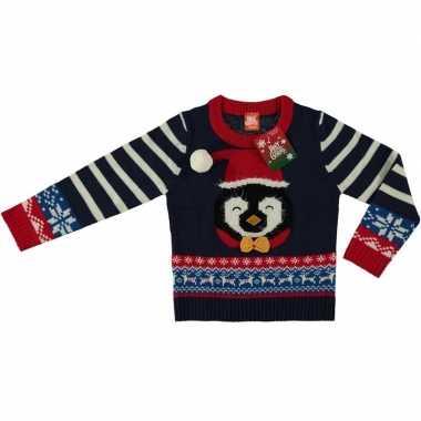 Foute kersttrui pinguin navy voor kinderen kopen