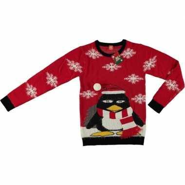 Foute kersttrui pinguin rood voor volwassenen kopen