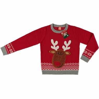 Foute kersttrui rendier rood voor kinderen kopen