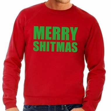 Foute kersttrui rood merry shitmas heren kopen